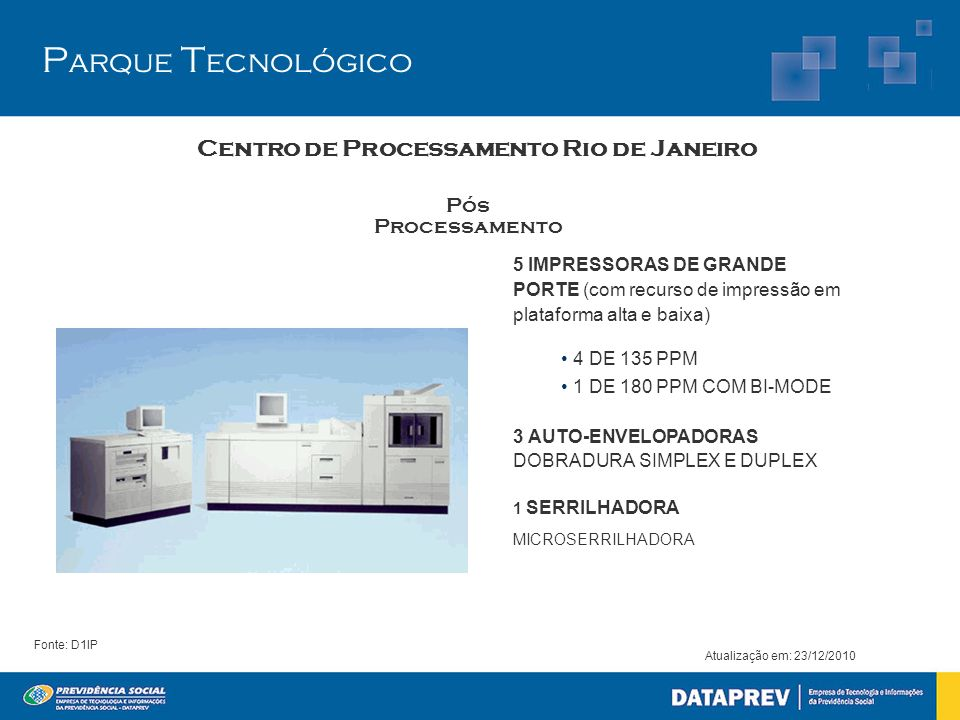 5 IMPRESSORAS DE GRANDE PORTE (com recurso de impressão em plataforma alta e baixa) 4 DE 135 PPM 1 DE 180 PPM COM BI-MODE 3 AUTO-ENVELOPADORAS DOBRADU