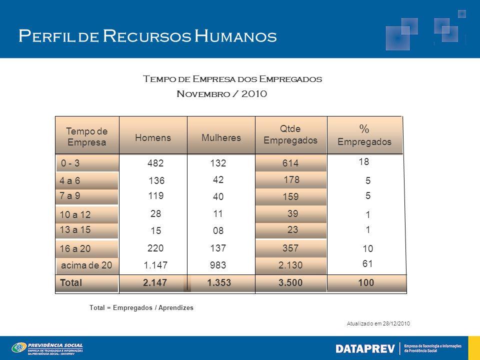 P erfil de R ecursos H umanos Atualizado em 28/12/2010 2.147 1.147 220 15 28 119 136 482 Homens 1.353 983 137 08 11 40 42 132 Mulheres 100 3.500 Total