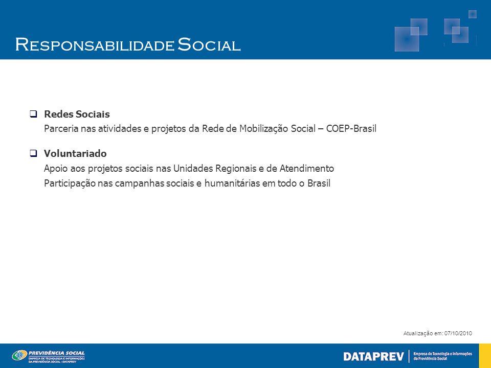 Redes Sociais Parceria nas atividades e projetos da Rede de Mobilização Social – COEP-Brasil Voluntariado Apoio aos projetos sociais nas Unidades Regi