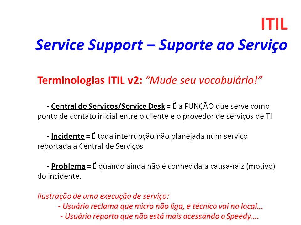 ITIL Service Support – Suporte ao Serviço Terminologias ITIL v2: Mude seu vocabulário! - Central de Serviços/Service Desk = É a FUNÇÃO que serve como