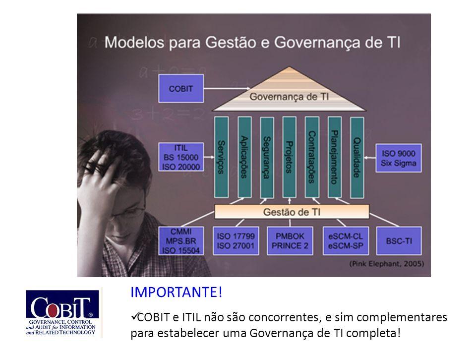 IMPORTANTE! COBIT e ITIL não são concorrentes, e sim complementares para estabelecer uma Governança de TI completa!