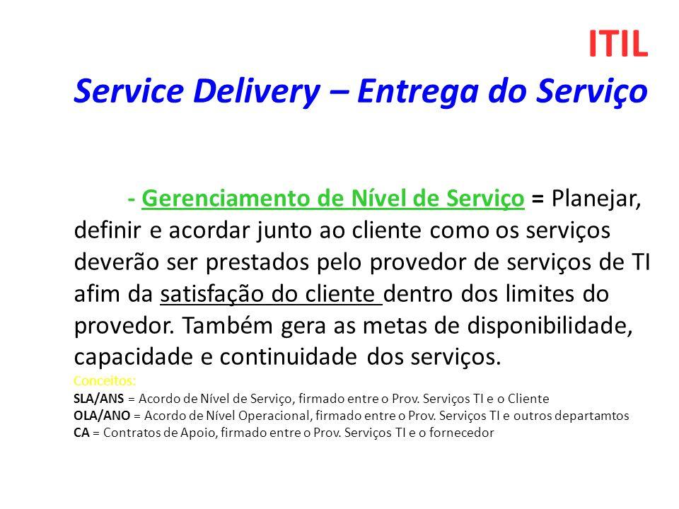 - Gerenciamento de Nível de Serviço = Planejar, definir e acordar junto ao cliente como os serviços deverão ser prestados pelo provedor de serviços de TI afim da satisfação do cliente dentro dos limites do provedor.