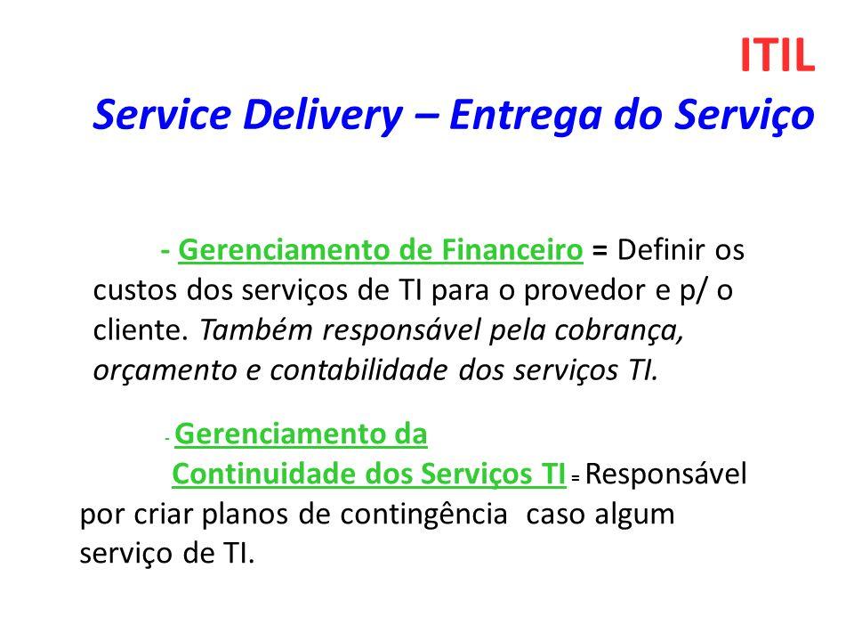 - Gerenciamento de Financeiro = Definir os custos dos serviços de TI para o provedor e p/ o cliente. Também responsável pela cobrança, orçamento e con
