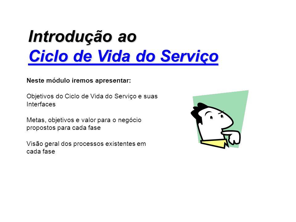 Neste módulo iremos apresentar: Objetivos do Ciclo de Vida do Serviço e suas Interfaces Metas, objetivos e valor para o negócio propostos para cada fa