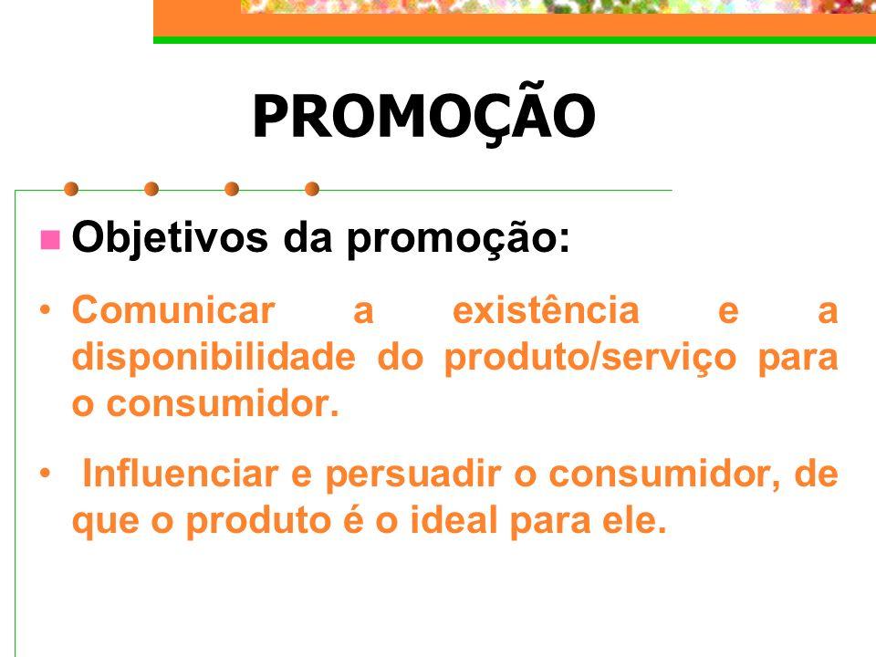 PROMOÇÃO Objetivos da promoção: Comunicar a existência e a disponibilidade do produto/serviço para o consumidor. Influenciar e persuadir o consumidor,