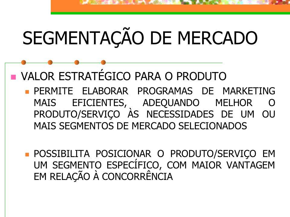 SEGMENTAÇÃO DE MERCADO VALOR ESTRATÉGICO PARA O PRODUTO PERMITE ELABORAR PROGRAMAS DE MARKETING MAIS EFICIENTES, ADEQUANDO MELHOR O PRODUTO/SERVIÇO ÀS
