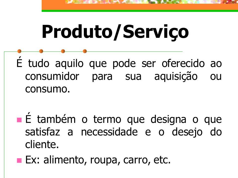 Produto/Serviço É tudo aquilo que pode ser oferecido ao consumidor para sua aquisição ou consumo. É também o termo que designa o que satisfaz a necess