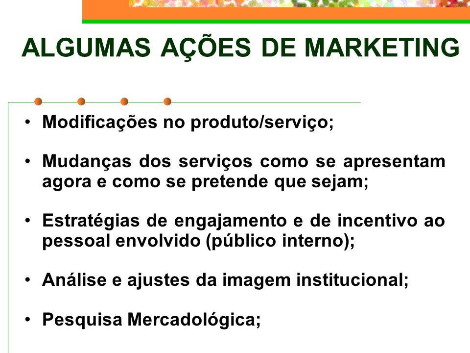 ALGUMAS AÇÕES DE MARKETING Modificações no produto/serviço; Mudanças dos serviços como se apresentam agora e como se pretende que sejam; Estratégias d