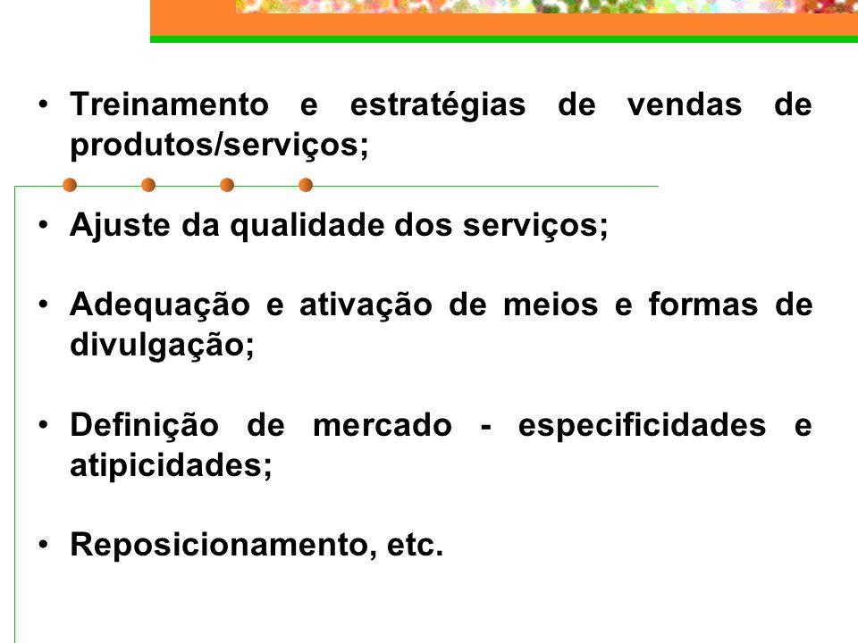 Treinamento e estratégias de vendas de produtos/serviços; Ajuste da qualidade dos serviços; Adequação e ativação de meios e formas de divulgação; Defi