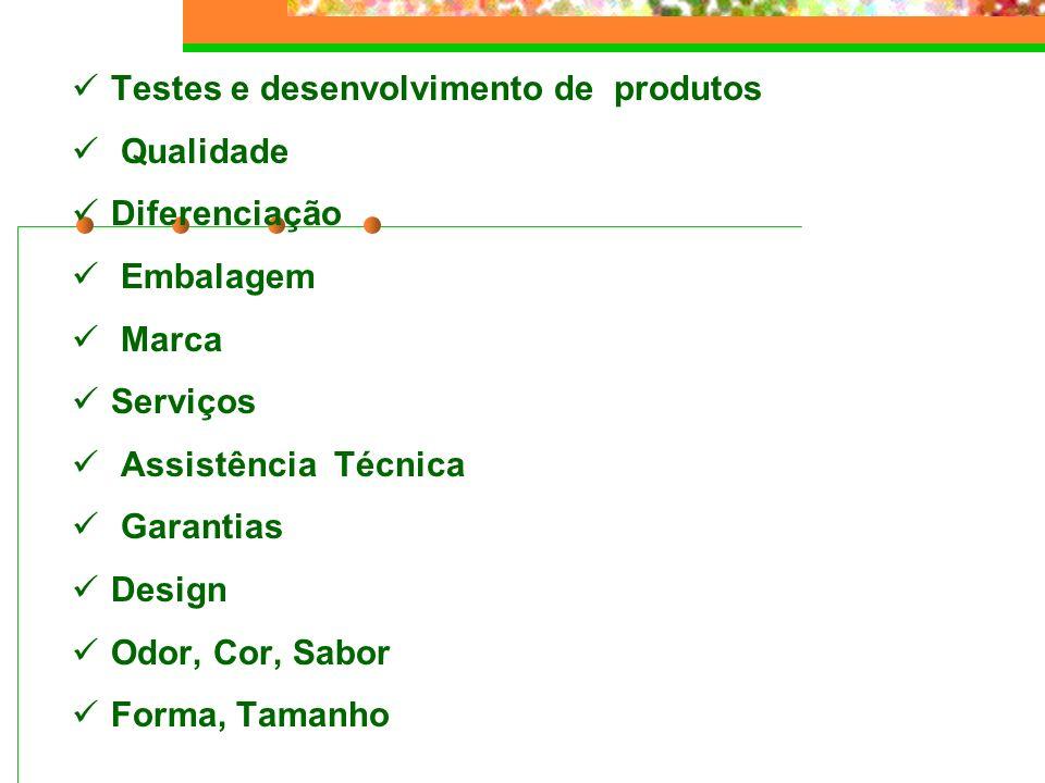 Testes e desenvolvimento de produtos Qualidade Diferenciação Embalagem Marca Serviços Assistência Técnica Garantias Design Odor, Cor, Sabor Forma, Tam