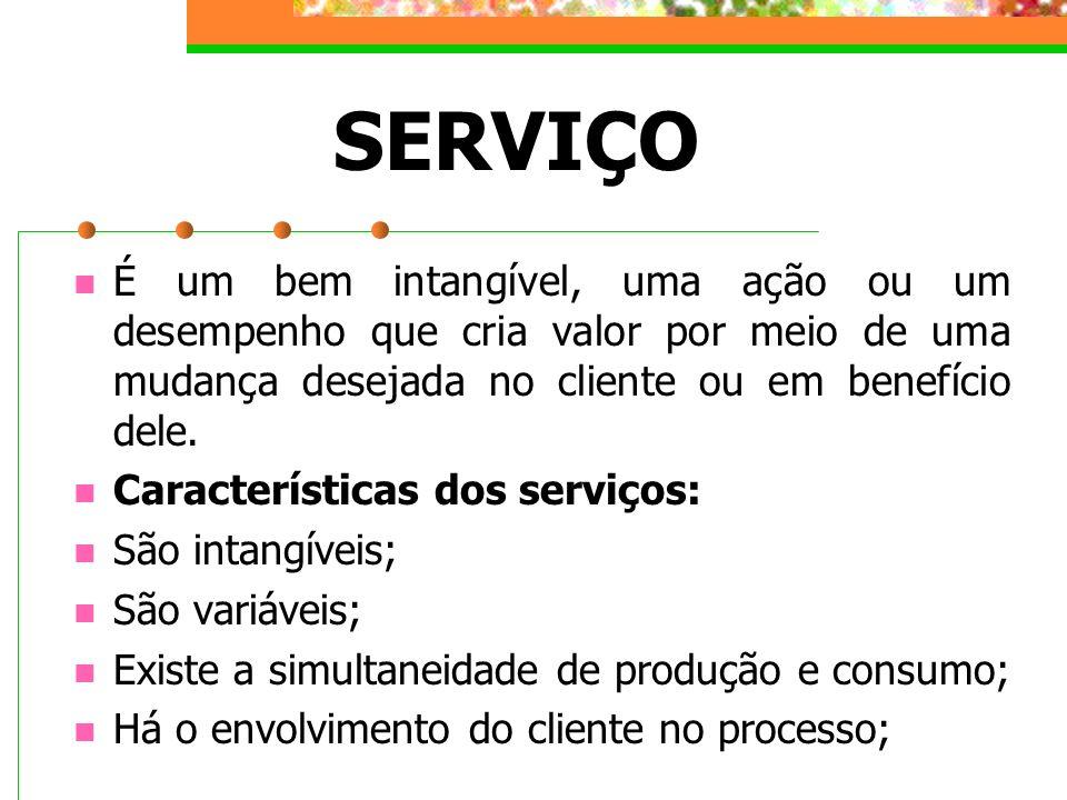 SERVIÇO É um bem intangível, uma ação ou um desempenho que cria valor por meio de uma mudança desejada no cliente ou em benefício dele. Característica
