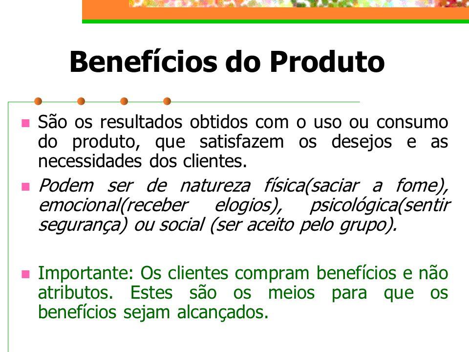 Benefícios do Produto São os resultados obtidos com o uso ou consumo do produto, que satisfazem os desejos e as necessidades dos clientes. Podem ser d