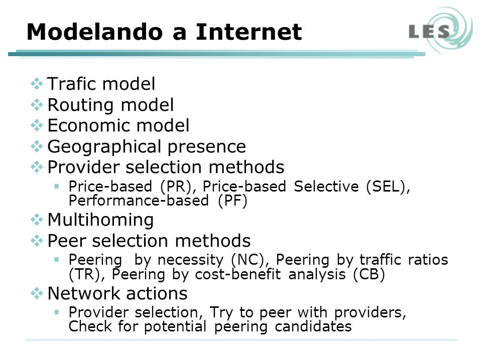 Modelando a Internet Trafic model Routing model Economic model Geographical presence Provider selection methods Price-based (PR), Price-based Selectiv