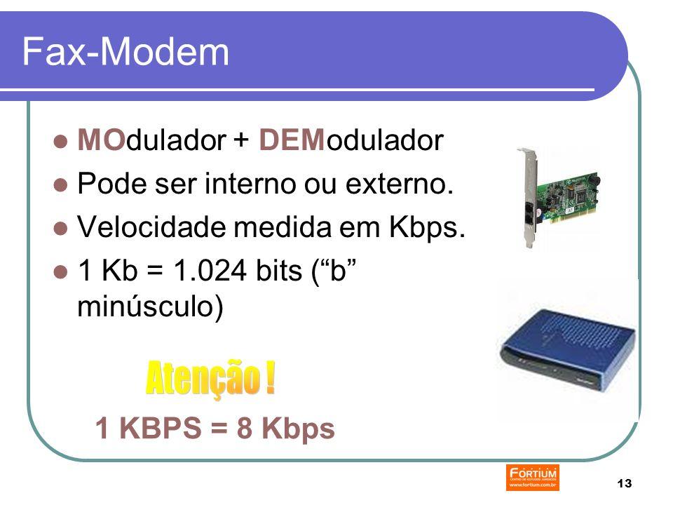 13 Fax-Modem MOdulador + DEModulador Pode ser interno ou externo.