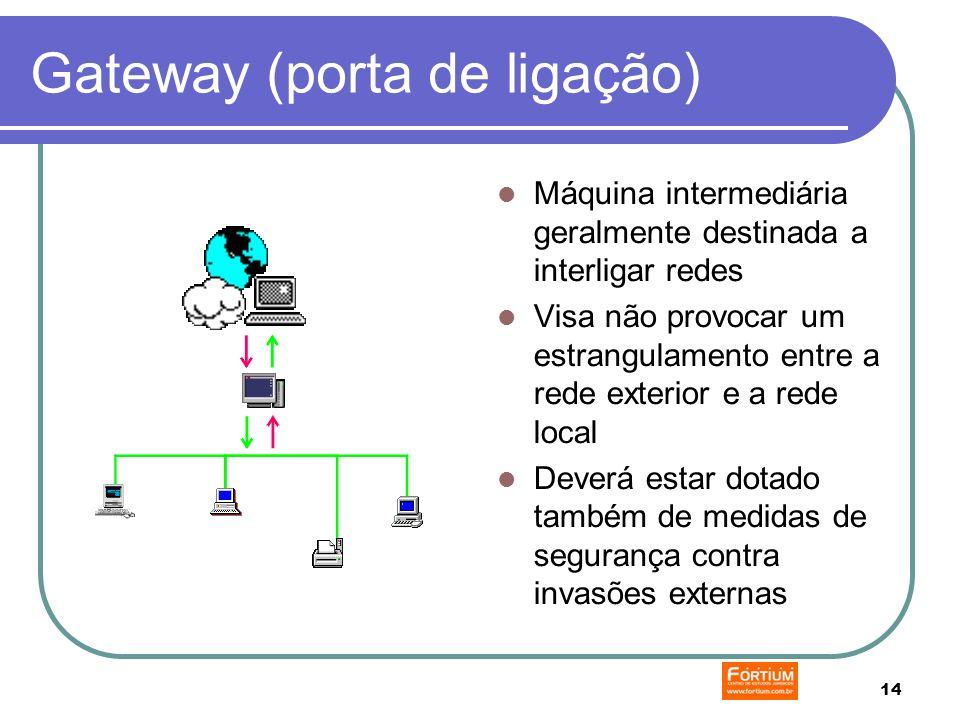14 Gateway (porta de ligação) Máquina intermediária geralmente destinada a interligar redes Visa não provocar um estrangulamento entre a rede exterior e a rede local Deverá estar dotado também de medidas de segurança contra invasões externas