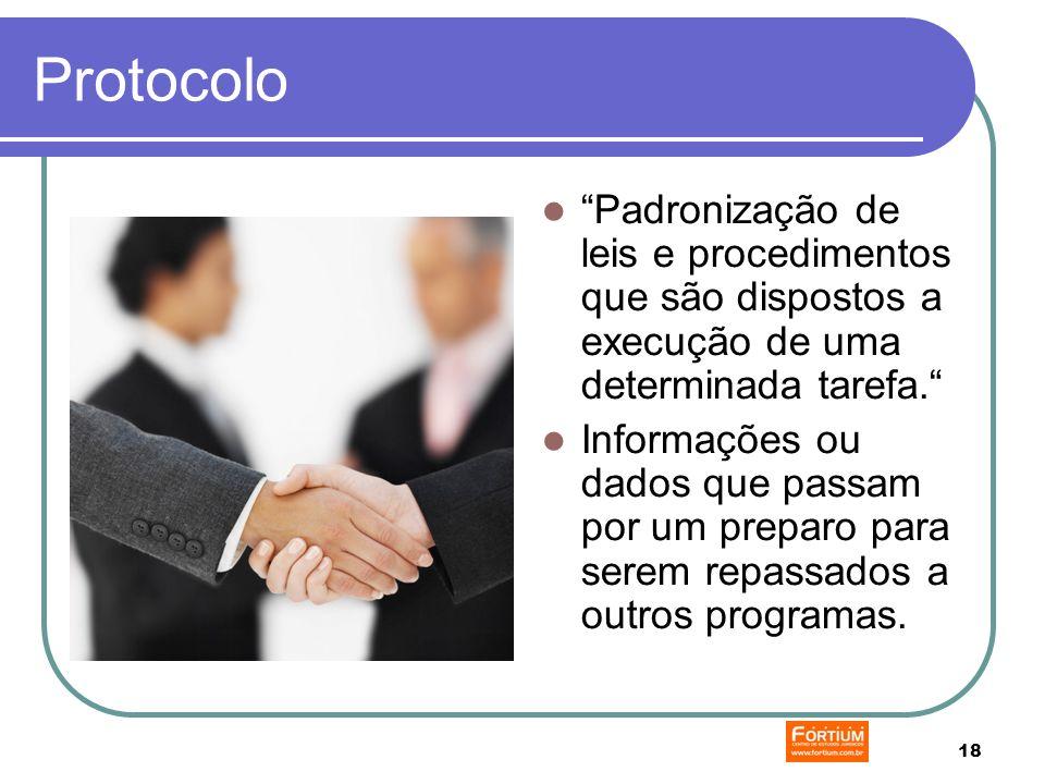 18 Protocolo Padronização de leis e procedimentos que são dispostos a execução de uma determinada tarefa.