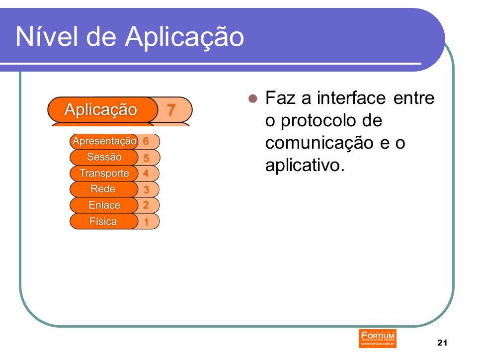 21 Nível de Aplicação Faz a interface entre o protocolo de comunicação e o aplicativo.