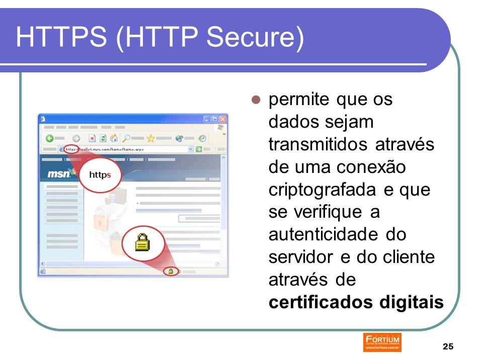 25 HTTPS (HTTP Secure) permite que os dados sejam transmitidos através de uma conexão criptografada e que se verifique a autenticidade do servidor e do cliente através de certificados digitais