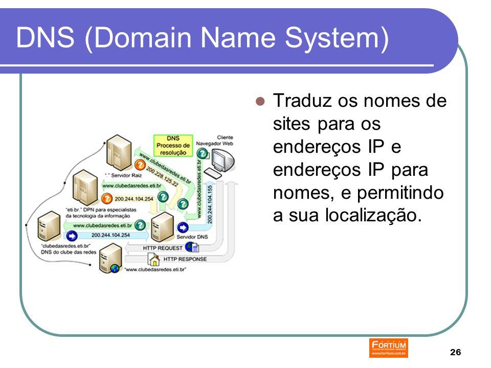 26 DNS (Domain Name System) Traduz os nomes de sites para os endereços IP e endereços IP para nomes, e permitindo a sua localização.
