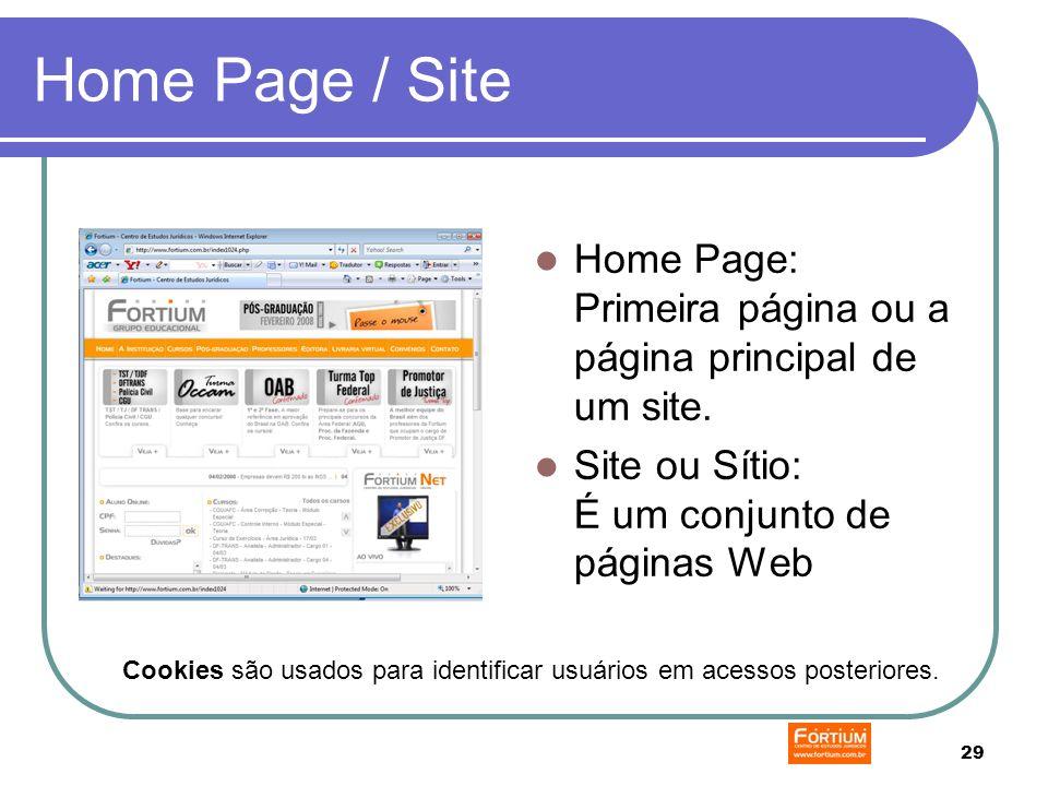 29 Home Page / Site Home Page: Primeira página ou a página principal de um site.