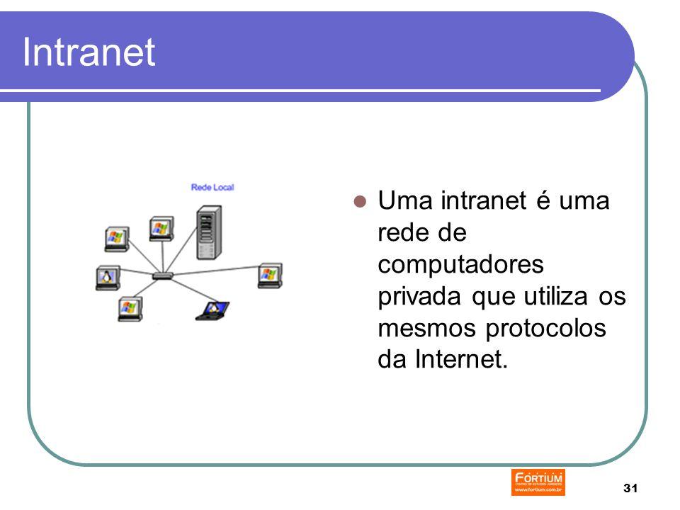 31 Intranet Uma intranet é uma rede de computadores privada que utiliza os mesmos protocolos da Internet.