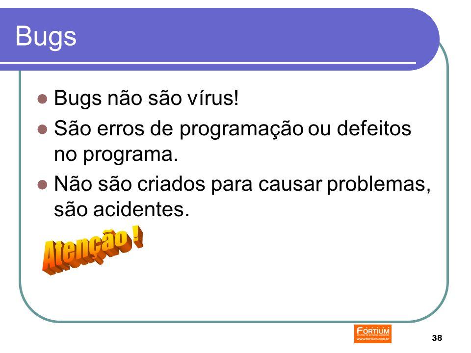 38 Bugs Bugs não são vírus. São erros de programação ou defeitos no programa.