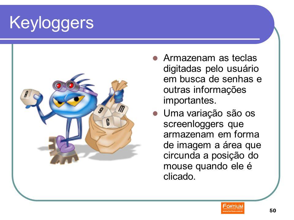 50 Keyloggers Armazenam as teclas digitadas pelo usuário em busca de senhas e outras informações importantes.