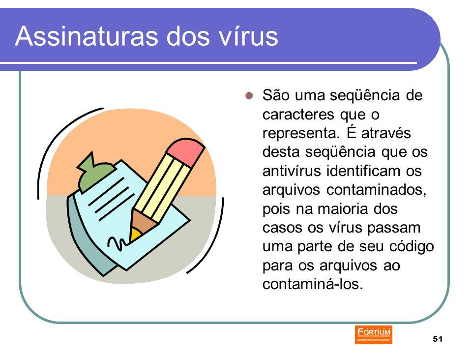 51 Assinaturas dos vírus São uma seqüência de caracteres que o representa.