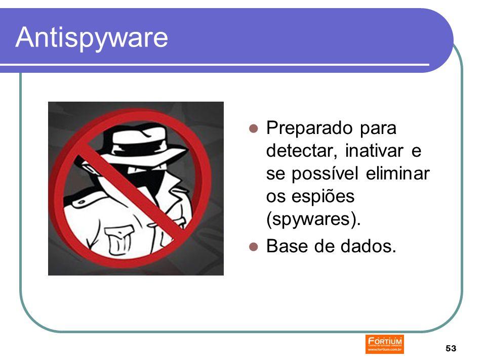 53 Antispyware Preparado para detectar, inativar e se possível eliminar os espiões (spywares).