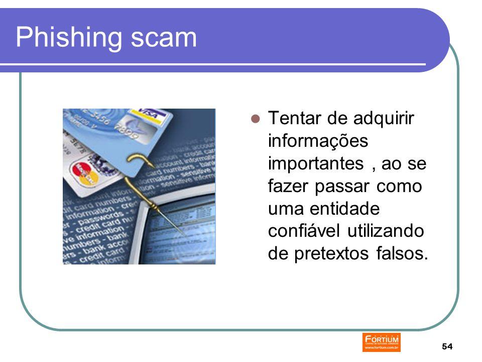 54 Phishing scam Tentar de adquirir informações importantes, ao se fazer passar como uma entidade confiável utilizando de pretextos falsos.