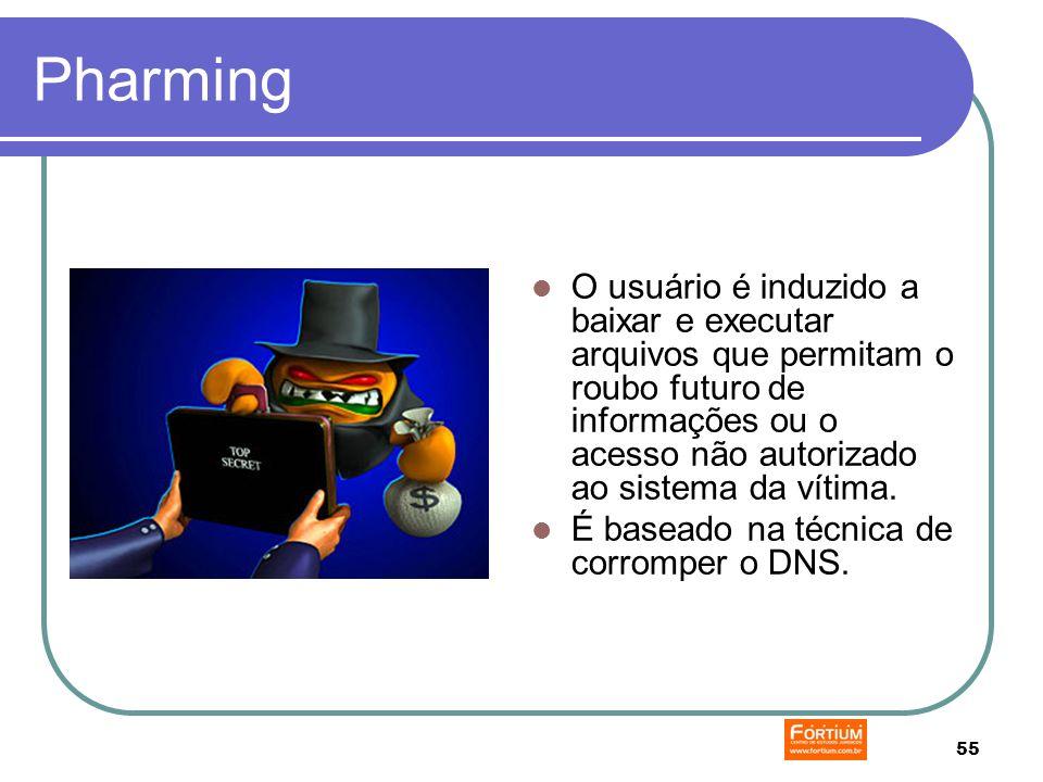 55 Pharming O usuário é induzido a baixar e executar arquivos que permitam o roubo futuro de informações ou o acesso não autorizado ao sistema da vítima.