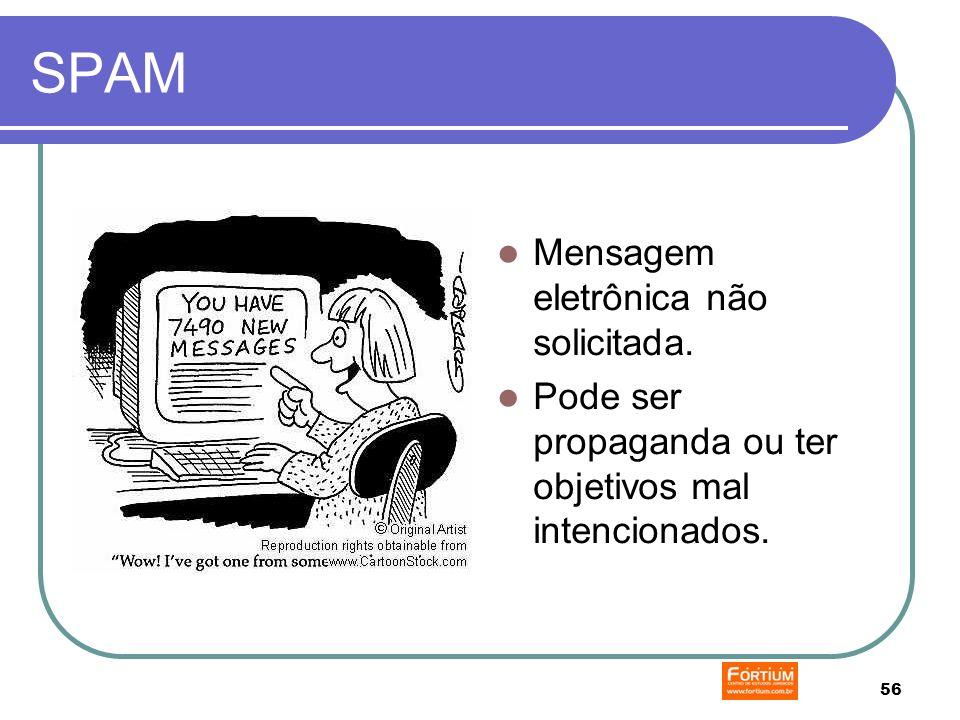 56 SPAM Mensagem eletrônica não solicitada. Pode ser propaganda ou ter objetivos mal intencionados.