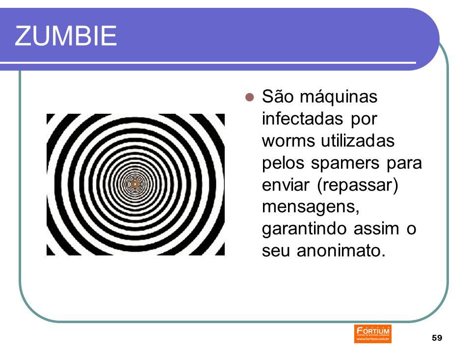 59 ZUMBIE São máquinas infectadas por worms utilizadas pelos spamers para enviar (repassar) mensagens, garantindo assim o seu anonimato.