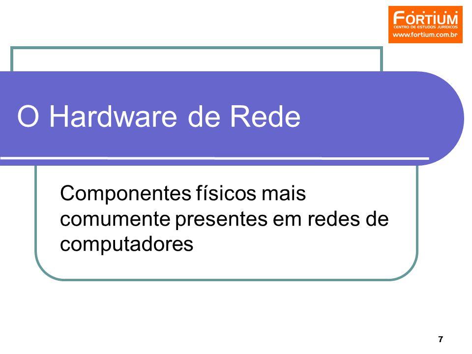 7 O Hardware de Rede Componentes físicos mais comumente presentes em redes de computadores
