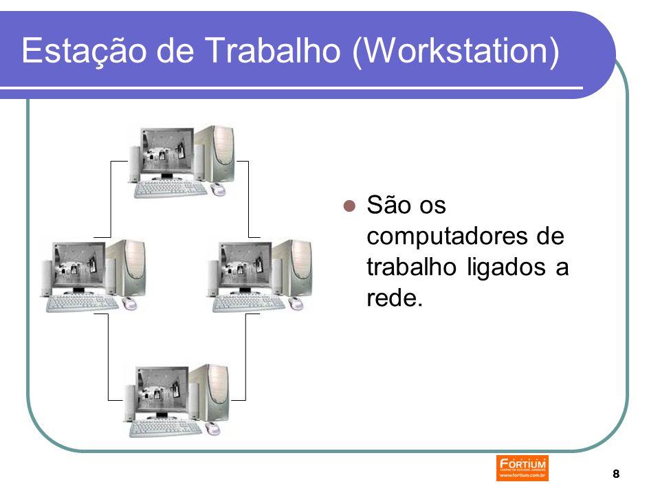 8 Estação de Trabalho (Workstation) São os computadores de trabalho ligados a rede.