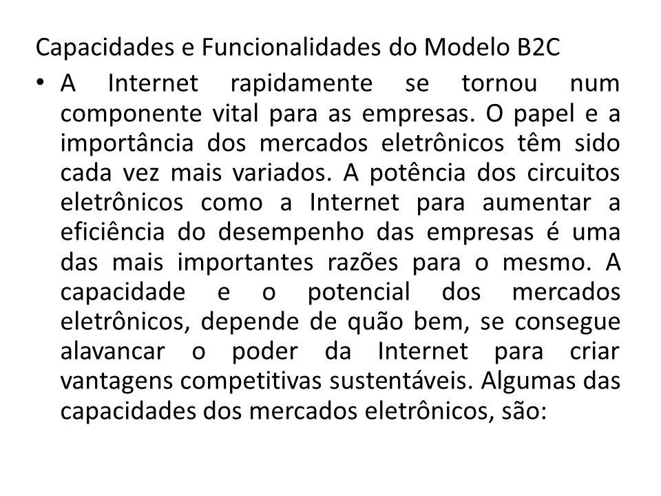 Capacidades e Funcionalidades do Modelo B2C A Internet rapidamente se tornou num componente vital para as empresas. O papel e a importância dos mercad