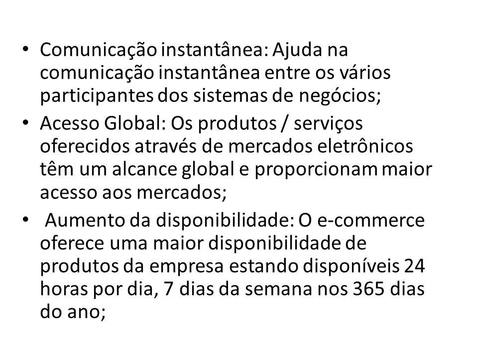 Comunicação instantânea: Ajuda na comunicação instantânea entre os vários participantes dos sistemas de negócios; Acesso Global: Os produtos / serviço