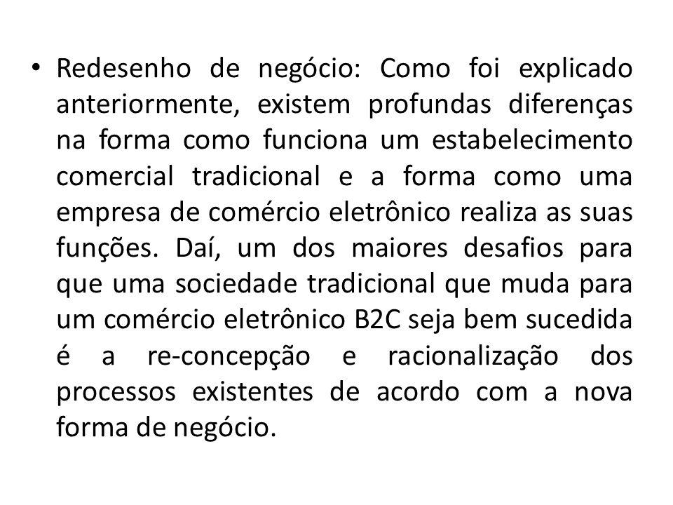 Redesenho de negócio: Como foi explicado anteriormente, existem profundas diferenças na forma como funciona um estabelecimento comercial tradicional e