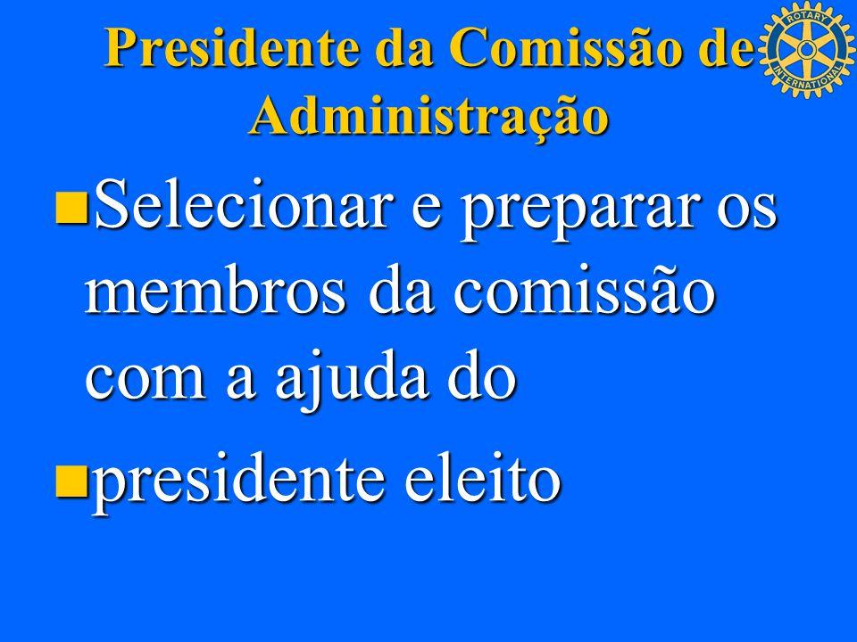 Presidente da Comissão de Administração Selecionar e preparar os membros da comissão com a ajuda do Selecionar e preparar os membros da comissão com a