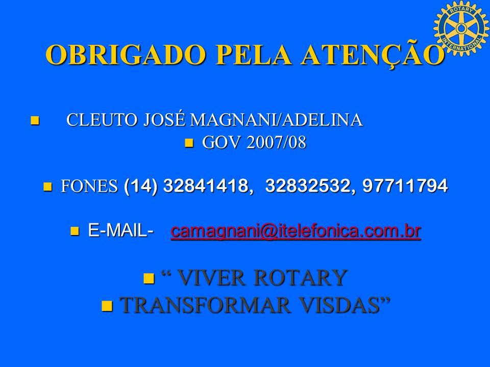 OBRIGADO PELA ATENÇÃO CLEUTO JOSÉ MAGNANI/ADELINA CLEUTO JOSÉ MAGNANI/ADELINA GOV 2007/08 GOV 2007/08 FONES (14) 32841418, 32832532, 97711794 FONES (1