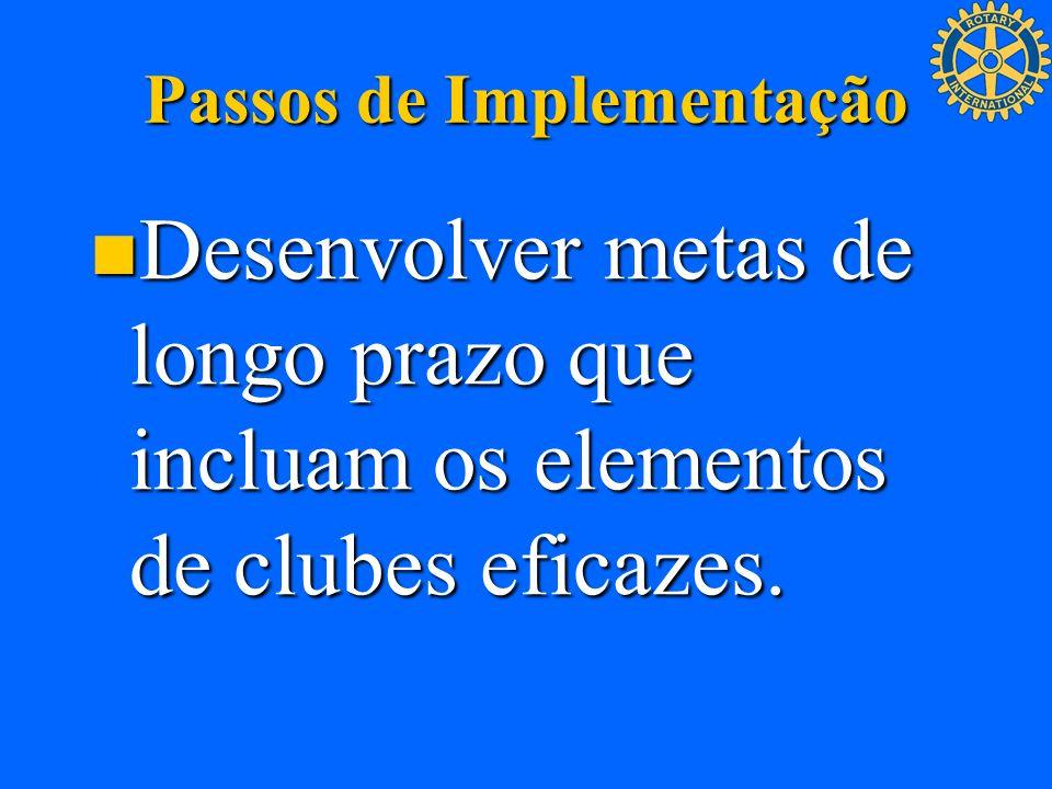 Passos de Implementação Desenvolver metas de longo prazo que incluam os elementos de clubes eficazes. Desenvolver metas de longo prazo que incluam os