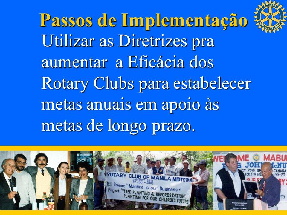 Passos de Implementação Utilizar as Diretrizes pra aumentar a Eficácia dos Rotary Clubs para estabelecer metas anuais em apoio às metas de longo prazo