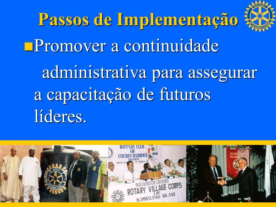Passos de Implementação Promover a continuidade Promover a continuidade administrativa para assegurar a capacitação de futuros líderes. administrativa