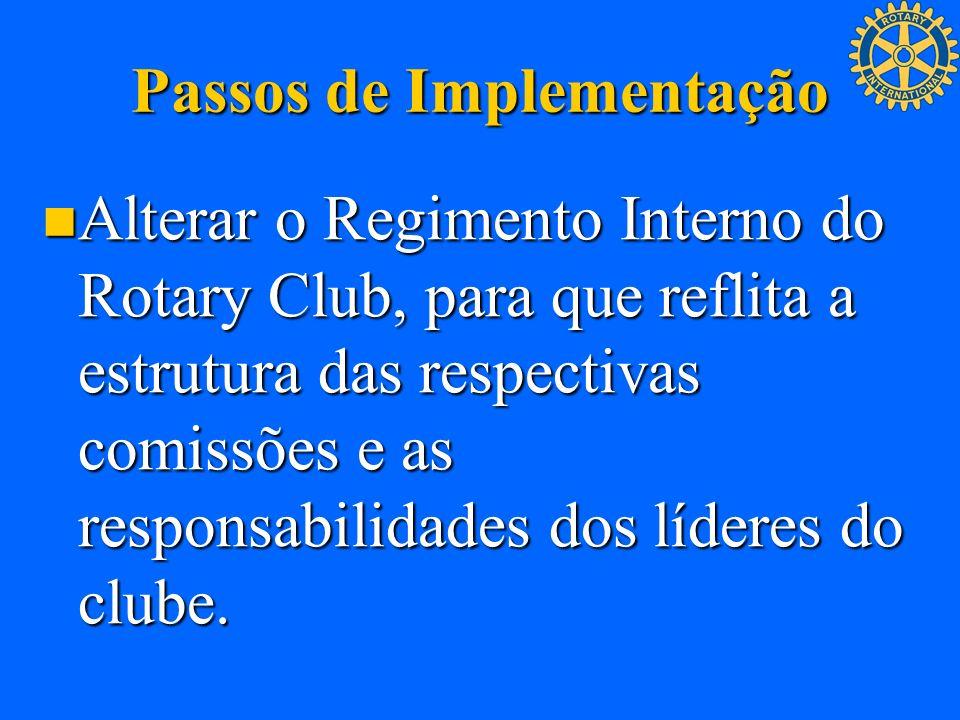 Passos de Implementação Alterar o Regimento Interno do Rotary Club, para que reflita a estrutura das respectivas comissões e as responsabilidades dos