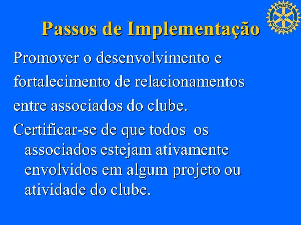 Passos de Implementação Promover o desenvolvimento e fortalecimento de relacionamentos entre associados do clube. Certificar-se de que todos os associ