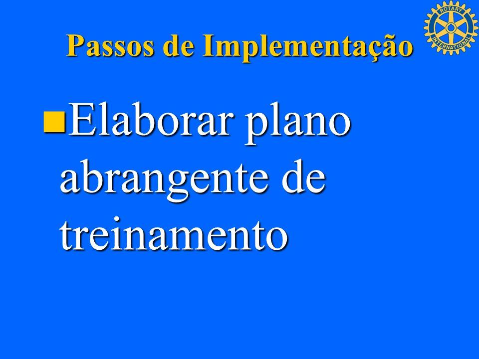Passos de Implementação Elaborar plano abrangente de treinamento Elaborar plano abrangente de treinamento