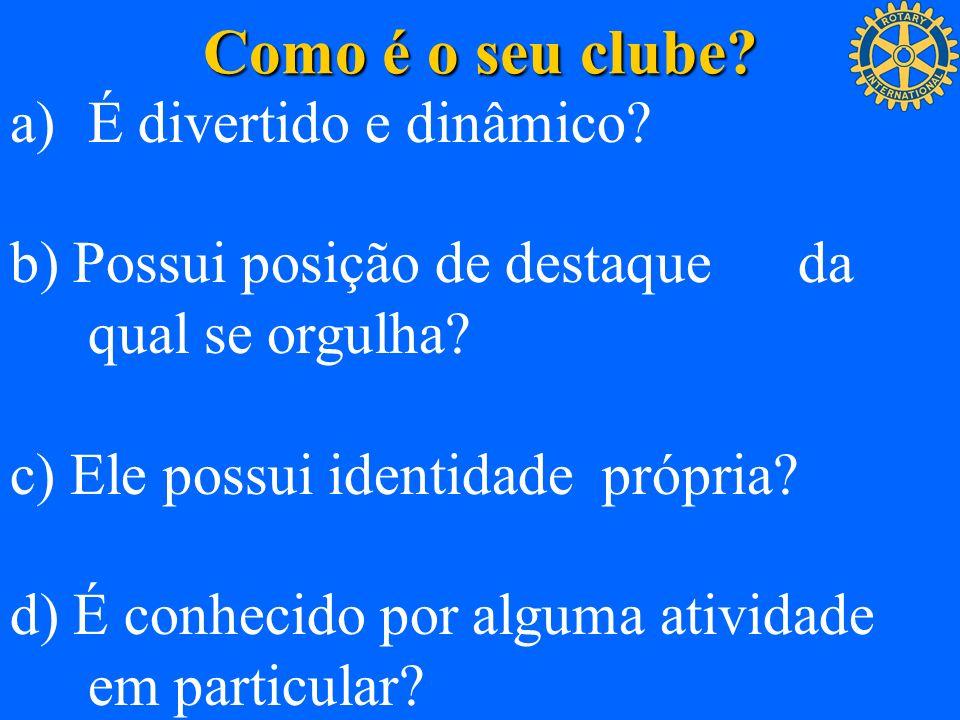 Como é o seu clube? a)É divertido e dinâmico? b) Possui posição de destaque da qual se orgulha? c) Ele possui identidade própria? d) É conhecido por a