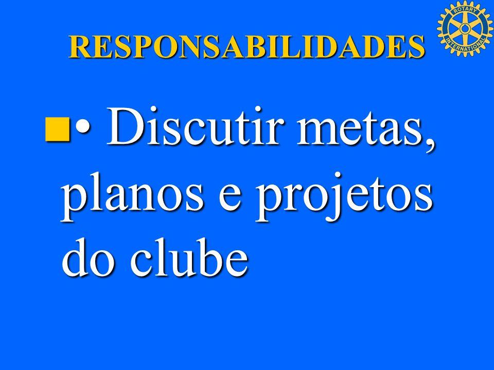 RESPONSABILIDADES Discutir metas, planos e projetos do clube Discutir metas, planos e projetos do clube