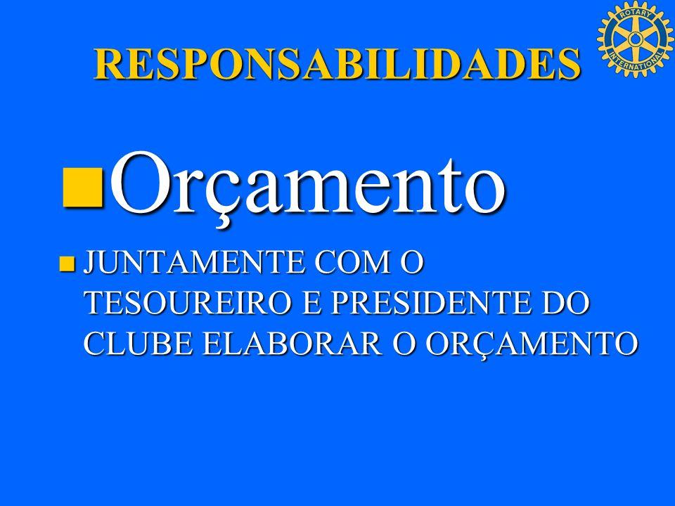 RESPONSABILIDADES Orçamento Orçamento JUNTAMENTE COM O TESOUREIRO E PRESIDENTE DO CLUBE ELABORAR O ORÇAMENTO JUNTAMENTE COM O TESOUREIRO E PRESIDENTE