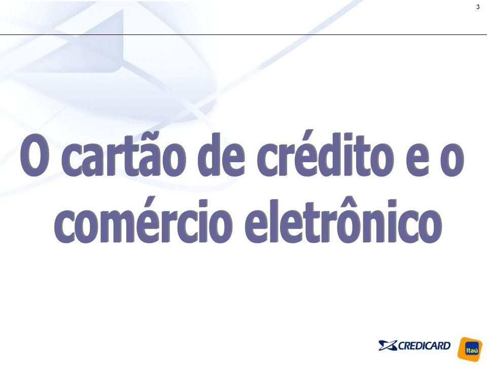 14 O cartão de crédito é o meio de pagamento preferido na Internet; 39% dos possuidores de cartão acessam a Internet; Tanto o mercado de cartões de crédito como o de comércio eletrônico apresentam amplo crescimento: 25% e 34% respectivamente, previstos para 2006; A participação das compras online no total do mercado de cartões apresentou crescimento de 31% nos últimos 12 meses; Entre as compras realizadas online, os cartões de crédito alavancam principalmente três setores: Eletro-eletrônicos, Turismo e Ingressos; O volume de transações (R$) para pagamentos online com cartão de crédito crescerá 65% em 2006.